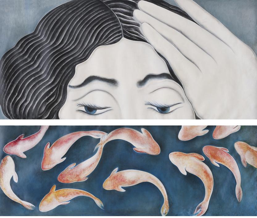 35.Dittico donna pesci 2012 cm 205,5x94,5 205,5x73