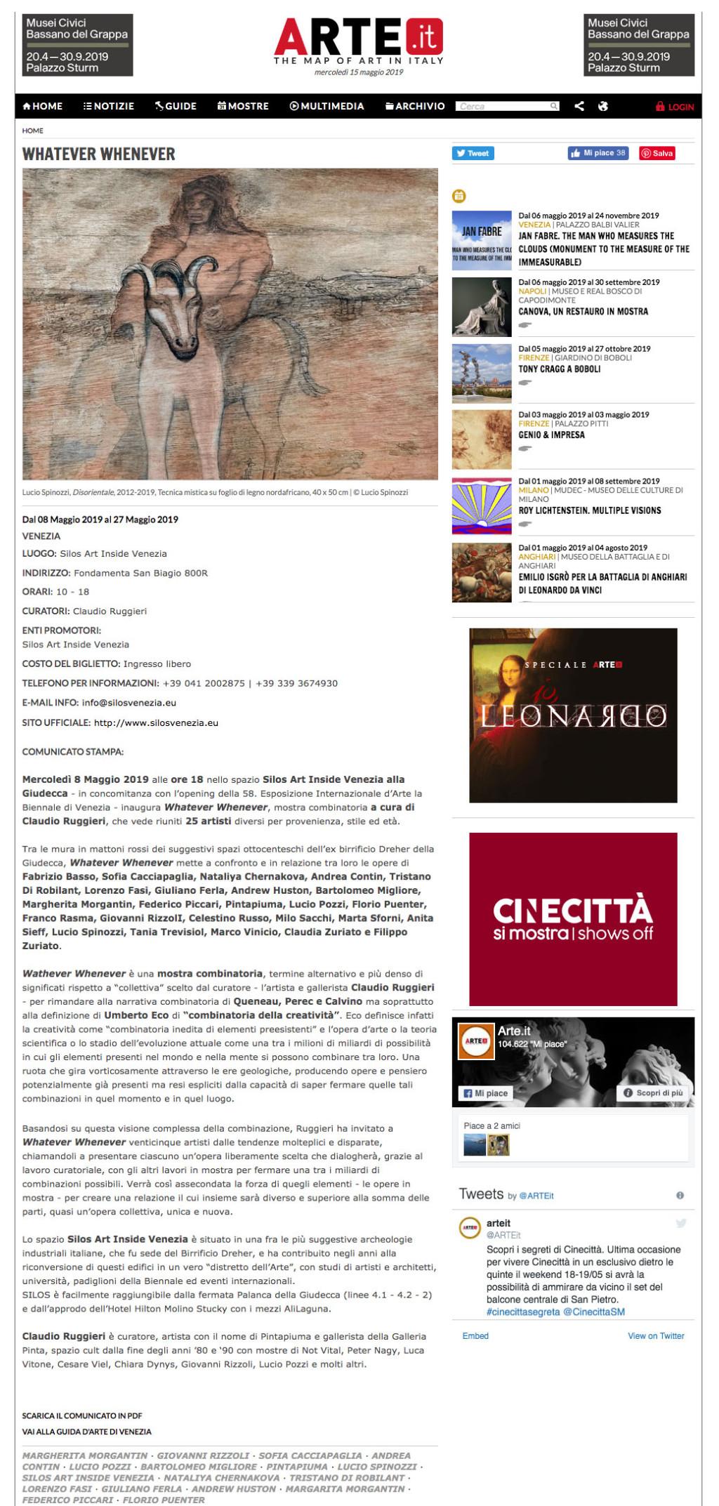 Dal 08 Maggio 2019 al 27 Maggio 2019 VENEZIA LUOGO: Silos Art Inside Venezia INDIRIZZO: Fondamenta San Biagio 800R